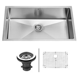 VIGO 32-Inch Undermount Stainless-Steel Kitchen Sink, Grid and Strainer Bundle