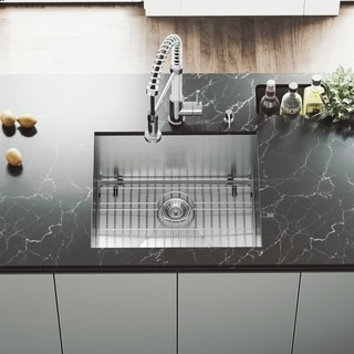 VIGO 23-Inch Undermount Stainless-Steel Kitchen Sink, Grid and Strainer with Mounting Hardware