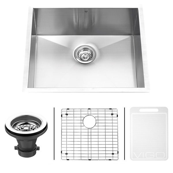 VIGO 23-Inch Undermount Stainless-Steel Kitchen Sink, Grid and Strainer with Mounting Hardware