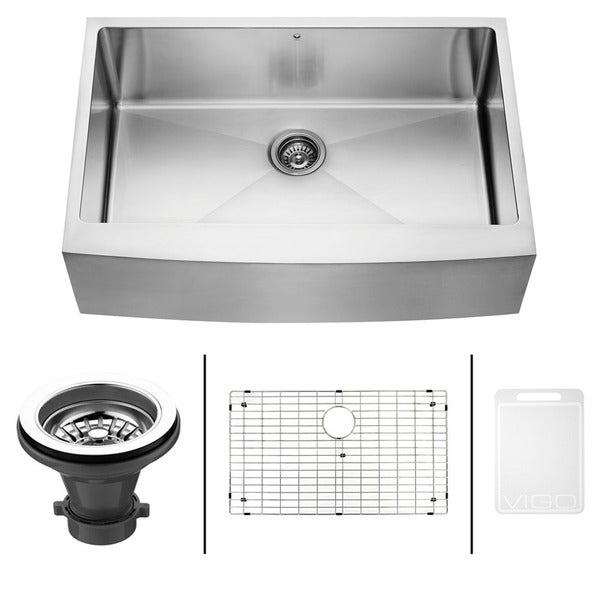 27 Inch Farmhouse Sink : VIGO 33-Inch Farmhouse Satin-Finish Stainless-Steel Kitchen Sink, Grid ...