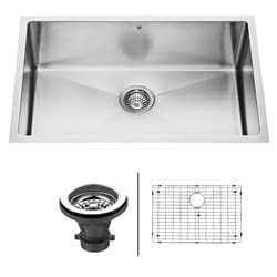 VIGO 30-Inch Undermount 16-Gauge Stainless-Steel Kitchen Sink, Grid, and Strainer