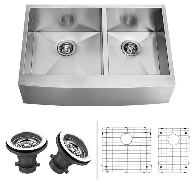 36 In Farmhouse Sink : VIGO 36-Inch Farmhouse Stainless-Steel Undermount Kitchen Sink, Two ...