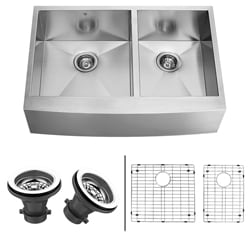 VIGO 36-Inch Farmhouse Stainless-Steel Undermount Kitchen Sink, Two Grids and Two Strainers