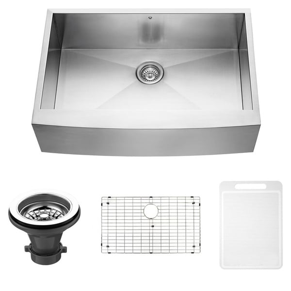 VIGO 33-inch Farmhouse Stainless Steel Kitchen Sink, Grid and Strainer