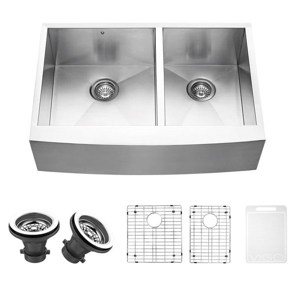 VIGO 33-inch Farmhouse Stainless Steel Kitchen Sink, Two Grids and Two Strainers (As Is Item)