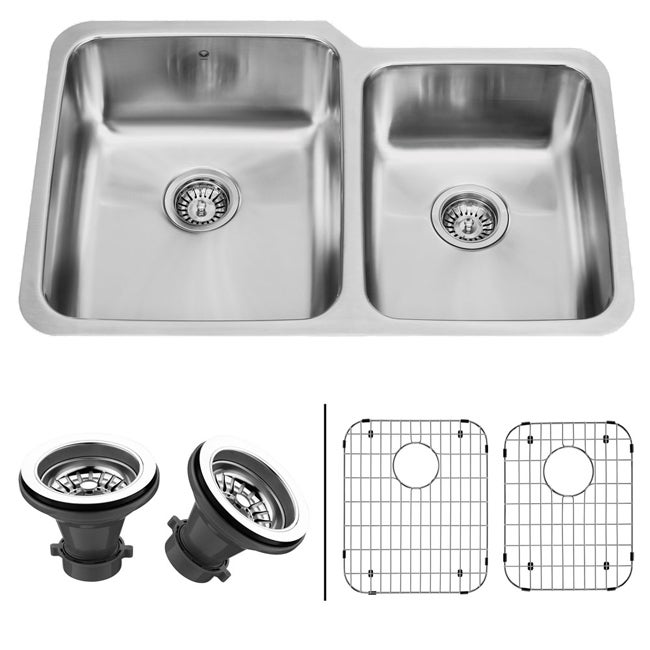 Sink Grids For Stainless Steel Sinks : VIGO 32-inch Undermount Stainless Steel Kitchen Sink, Two Grids and ...