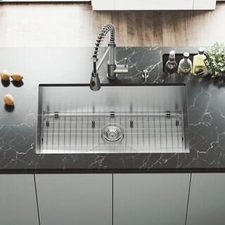 VIGO 32-inch Undermount Stainless Steel Kitchen Sink, Grid and Strainer