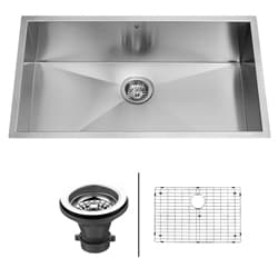 VIGO 32-inch Undermount Stainless Steel Kitchen Sink, Grid and Strainer