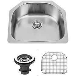 VIGO 24-inch Undermount Stainless Steel Kitchen Sink, Grid and Strainer