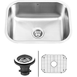 VIGO 23-inch Undermount Stainless Steel Kitchen Sink, Grid and Strainer