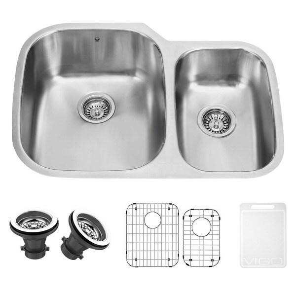 VIGO 30-inch Undermount Stainless Steel Kitchen Sink, Grid and Two Strainers