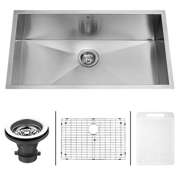 VIGO 30-Inch Undermount Satin-Finish Stainless-Steel Kitchen Sink, Grid, and Strainer