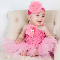 baby pink flower tutu dress and headband   13692376