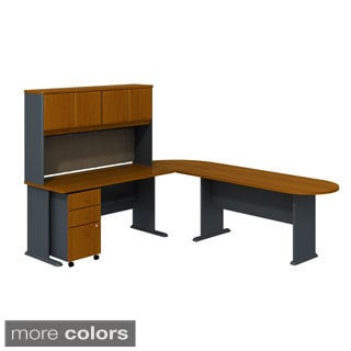 BBF Series A Single Pedestal Corner Desk with 30-inch Bridge, 36-inch 2-drawer Lateral File and 60-inch Hutch