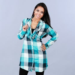 Cino Designer Women's Cotton Plaid Ruffle Tunic