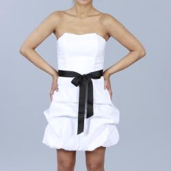 Wishes Juniors White Strapless Bubble-hem Party Dress