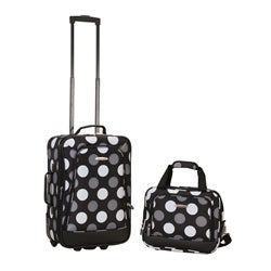 Rockland Expandable New Black Polka Dot 2-piece Lightweight Carry-on Luggage Set
