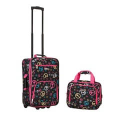 Rockland Expandable Peace Sign 2-piece Lightweight Carry-on Luggage Set