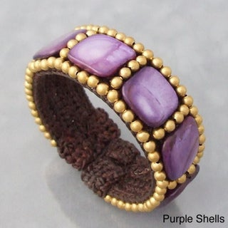 Cotton Purple/ White Mother of Pearl Squares Brass Beaded Cuff (Thailand)