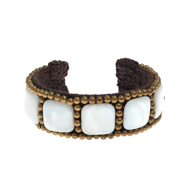 Handmade Cotton Purple/ White Mother of Pearl Squares Brass Beaded Cuff (Thailand) 9969700