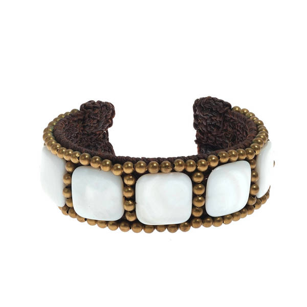 Handmade Cotton Purple/ White Mother of Pearl Squares Brass Beaded Cuff (Thailand) 8122308