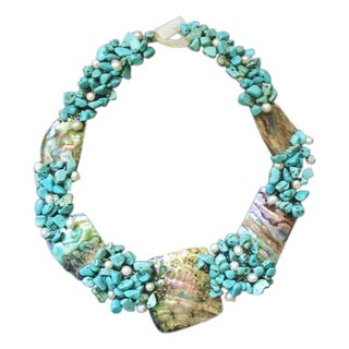 Abalone, Turquoise and Pearl Link Necklace (5-9 mm) (Philippines)