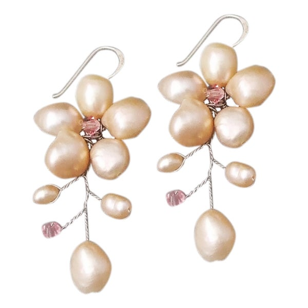 Silver Dreamy Nature Pink Pearl/ Crystal Earrings (6-9 mm) (Thailand)
