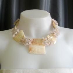 Mother of Pearl, Rose Quartz and Pearl Necklace (5-9 mm) (Philippines)