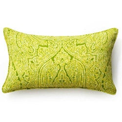 Green Paisley Outdoor Throw Pillow