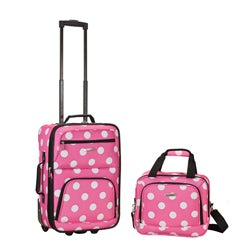 Rockland Expandable Pink Dot 2-piece Lightweight Carry-on Luggage Set