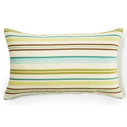 Aqua Horizontal Stripes Outdoor Throw Pillow
