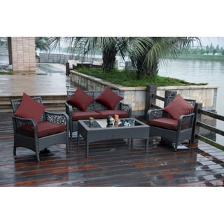 International Caravan Trinidad 4-piece Resin Wicker and Aluminum Settee Set