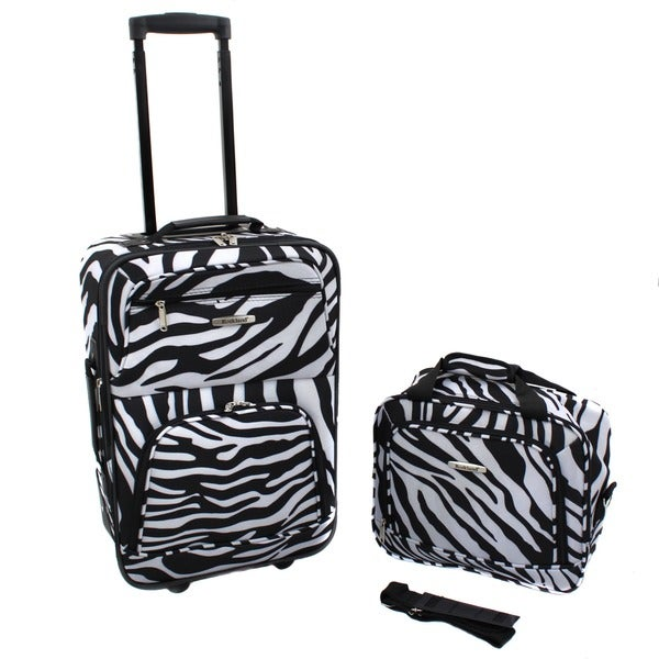 Rockland Expandable 2-piece Zebra Lightweight Carry-on Luggage Set