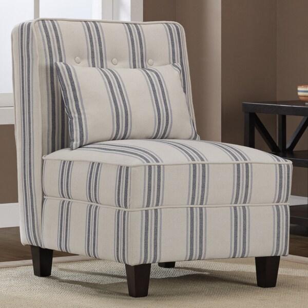 Slipcover wingback chair - Mattie Tufted Slipper Blue Cream Stripe Chair 13692650 Overstock