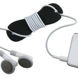 Black Silicone Headphone Smart Wrap - Prevents Tangled Headset Wire