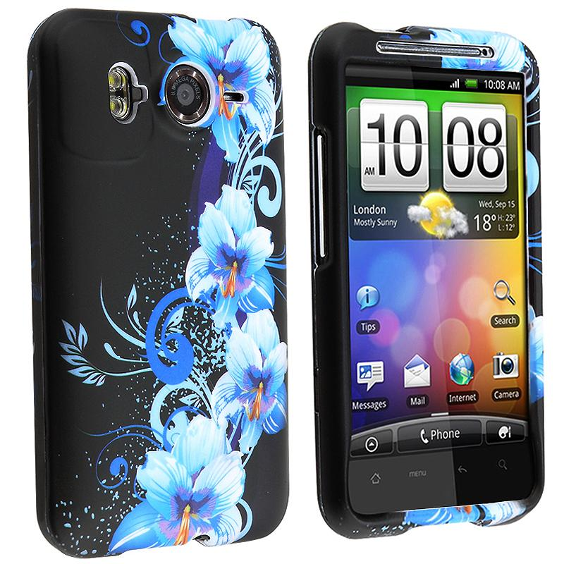 Black/ Flower Rubber Coated Case for HTC Inspire 4G/ Desire HD