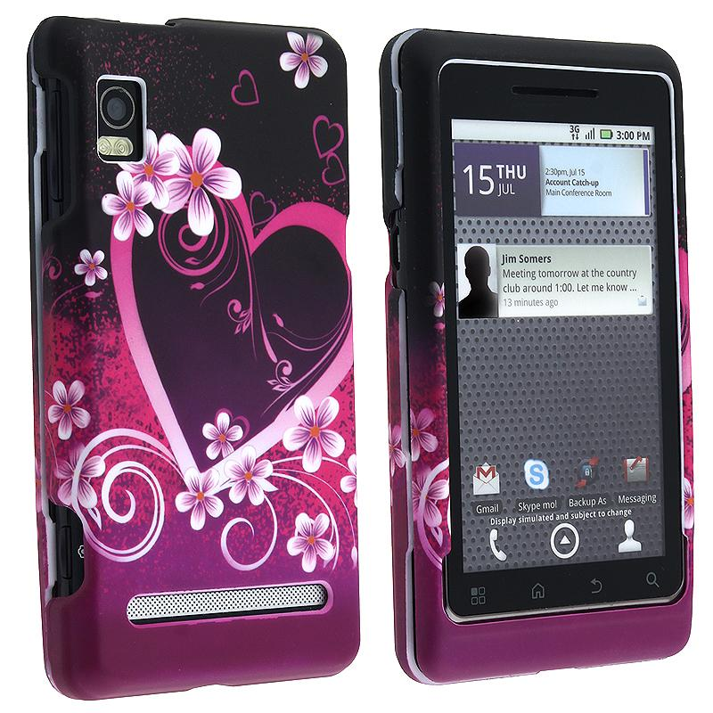 Heart/ Flowers Rubber Coated Case for Motorola A955 Droid 2