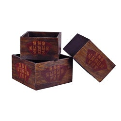 Rectangular Chinese Planters (Set of 3)