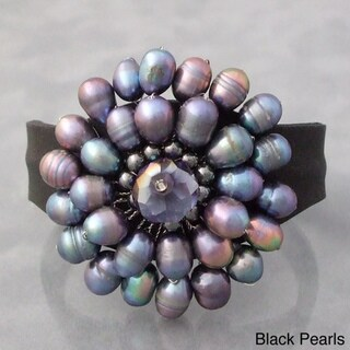 Freshwater Black Pearls and Crystal Leather Cuff Bracelet (Thailand)