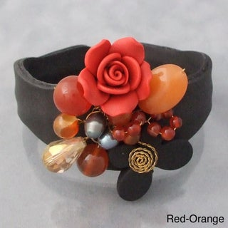 Clay Flower and Gemstone Leather Cuff (5-6 mm) (Thailand)