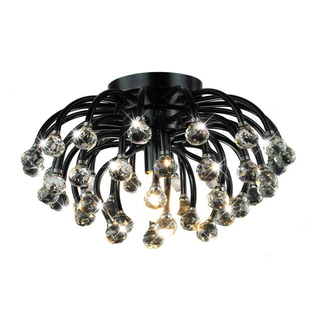 North Star Black and Crystal Flushmount Chandelier
