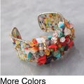 Vibrant Multi-stone/ Lapis/ Tiger's Eye/ Coral Cluster Glass Beaded Cuff Bracelet (Thailand)