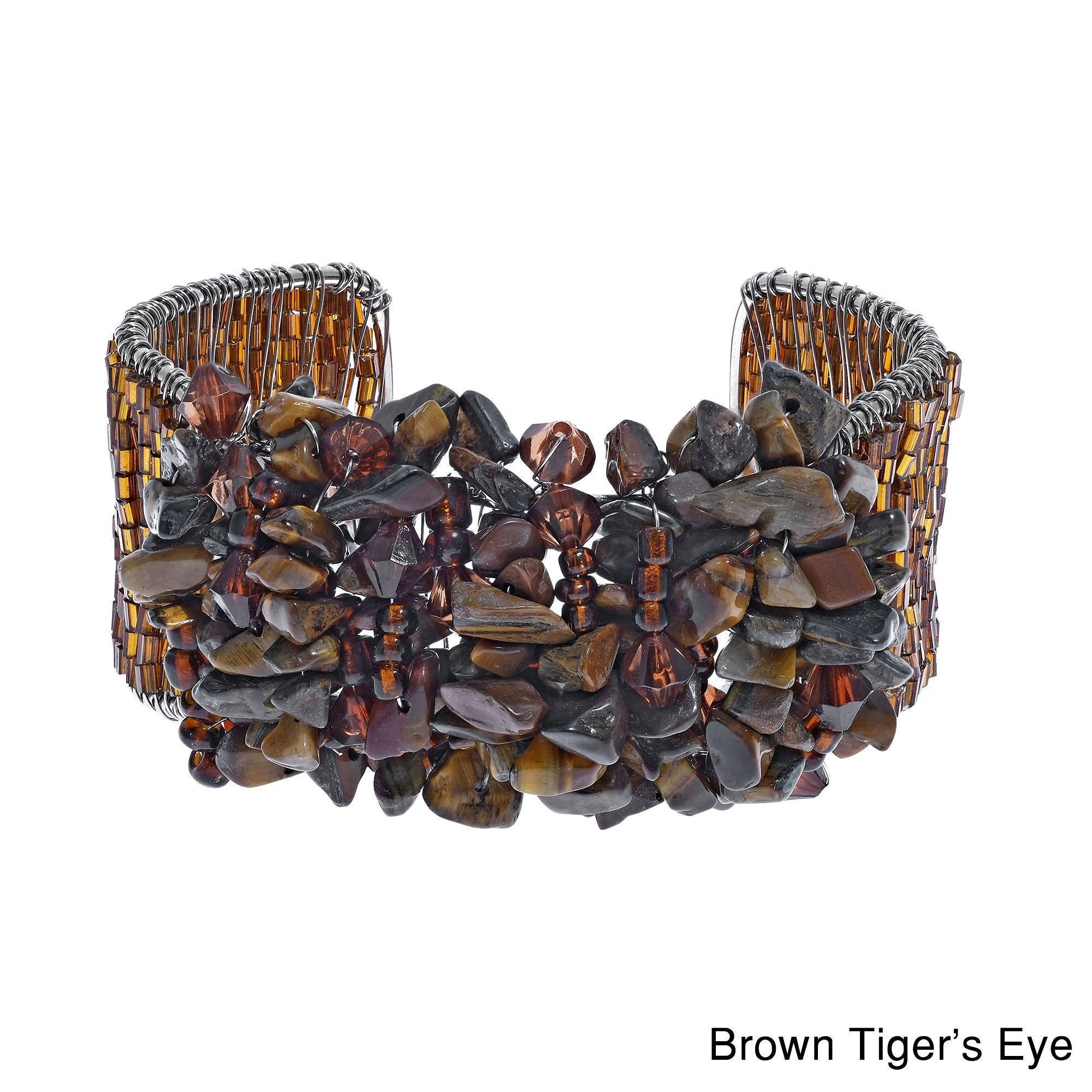 Vibrant Multi-stone/ Lapis/ Tiger's Eye/ Coral Cluster Glass Beaded Cuff Bracelet (Thailand) at Sears.com