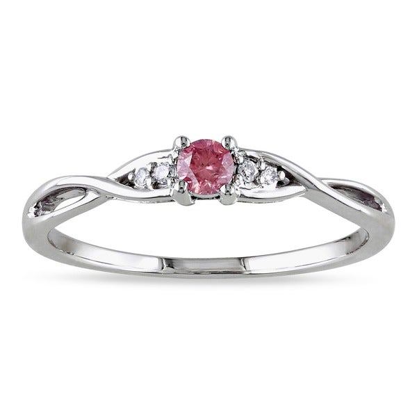 Miadora 10k Gold 1/6ct TDW Pink and White Diamond Ring (G-H, I2-I3)