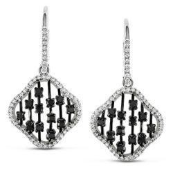 Miadora 14k White Gold 1ct TDW Black and White Diamond Earrings (G-H, SI1-SI2)