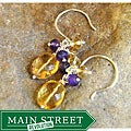 Sterling Silver Citrine Cluster Earrings