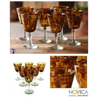 Set of 6 Blown Glass Brown Wine Glasses (Mexico)
