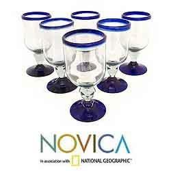 Set of 6 Blown Glass 'Cobalt Joy' Wine Glasses (Mexico)