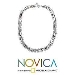 Sterling Silver 'Centipede' Chain Necklace (Indonesia)