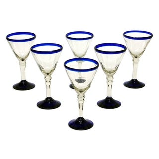 Set of 6 Blown Glass 'Double Bubble' Wine Glasses (Mexico)